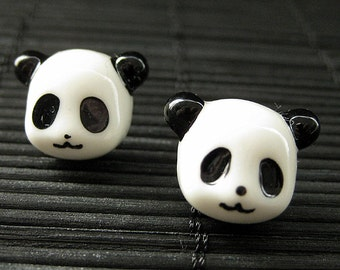 Panda Earrings. Black and White Bear Earrings. Silver Post Earrings. Kawaii Earrings. Handmade Jewelry.
