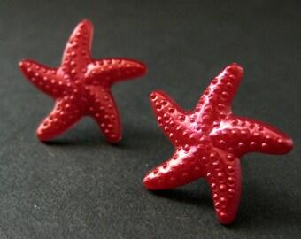 Fuchsia Red Starfish Earrings. Star Earrings with Silver Stud Earring Backs. Handmade Jewelry.