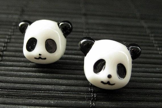 Panda Earrings. Black and White Bear Earrings. Silver Post Earrings. Kawaii Earrings. Handmade Jewelry.
