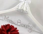 Wedding Dress Hanger with Name and Wedding Date Charm, White Hanger, Bride, Bridesmaid, Shower Gift, Name Hanger