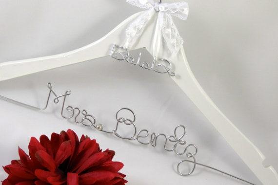 Wedding dress hanger with name and wedding date by for Wedding dress hanger name