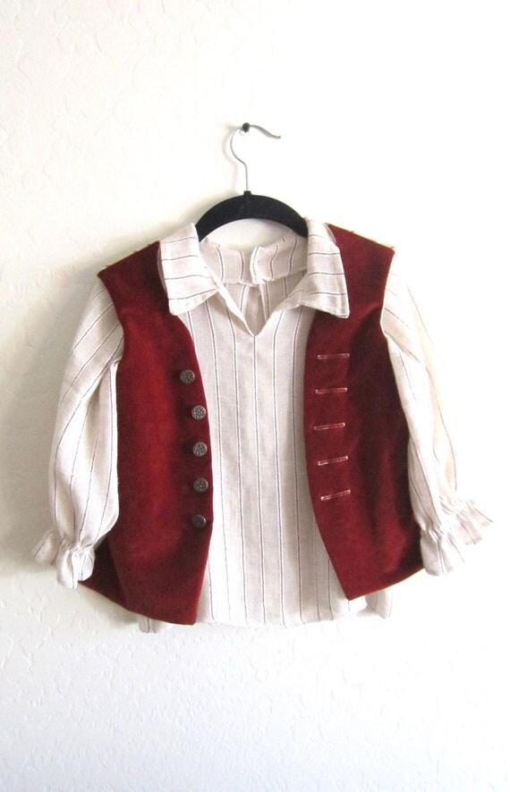 Toddler Velvet Hobbit Pirate Poet Waistcoat Vest
