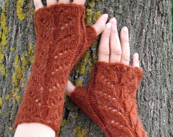Fingerless Gloves, Mittens light brown Cabled Arm Warmers Soft acrylic, mohair