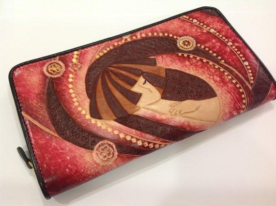 Handtooled Japanese Girl Women leather zipper purse ( Red )