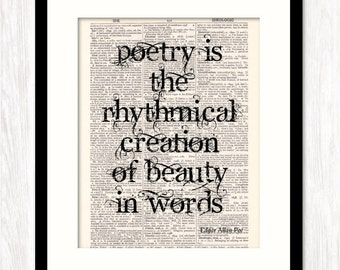 Edgar Allan Poe Quote, Poetry Is Rhythmical Creation of Beauty in Words, Art Print on Dictionary Book Page, Literary Art Print, Gift for
