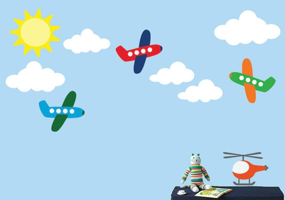 REUSABLE Airplane Wall Decal - Childrens Decals - B604WA