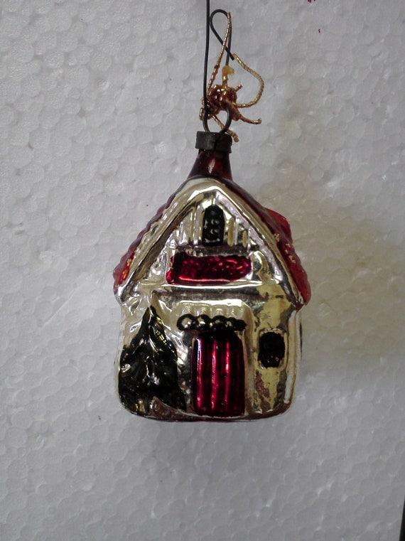 Vintage Christmas Cottage Ornament Older Blown Glass
