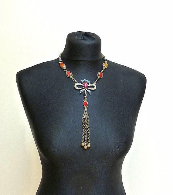 Vintage Tribal Jewelry Kuchi Jewelry Bow Necklace Bohemian Jewelry Gypsy Necklace