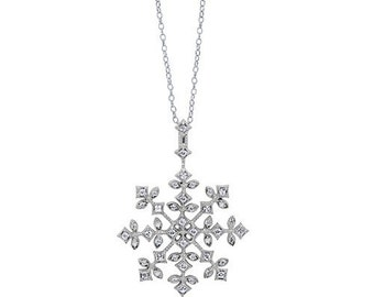Snowflake cubic zirconia and sterling silver charm necklace, delicate  necklace, winter wedding, bridal party gifts, bridesmaid jewelry