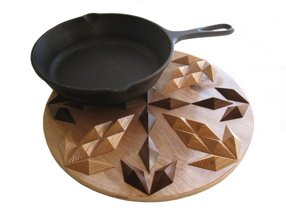 Round Wooden Trivet. Pineapple design hot pad with oak and rustic walnut.
