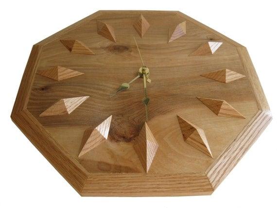 Oak Wall Clock.  Light wood, geometric design,  wooden hanging clock.  Wood clock