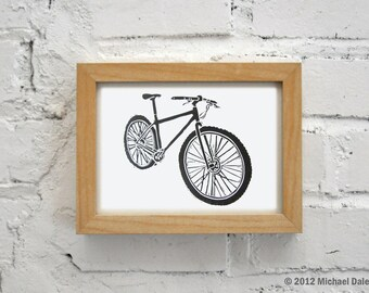 Bike Art Linocut Block Print 5 x 7 - Singlespeed Fixie Messenger Mountain Bike Trail