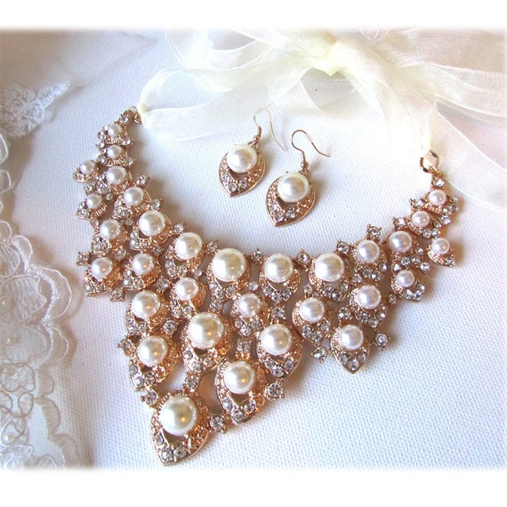 Wedding jewelry set, OOAK Bridal jewelry, bib Golden necklace earrings, ivory pearl, rhinestone, ribbon bridal necklace