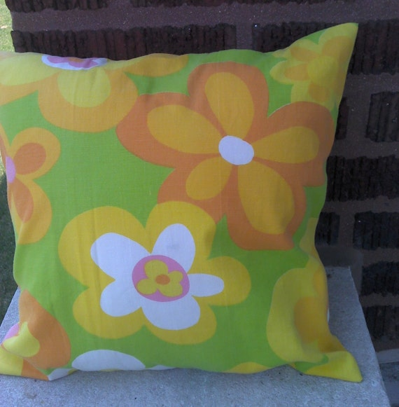 Funky Retro Look  Upcycled Eco Friendly Accent Throw Pillow Cover 14 Inch Square14 X 14, Toss, Scatter Pillow