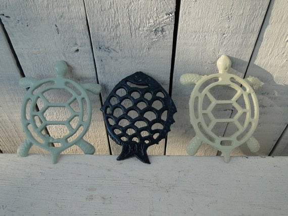 "Kitchen Trivet Small Turtle and Fish Iron Trivet set blue teal turquoise green ""Under the Sea"""