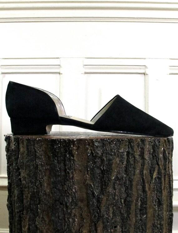 Vtg 90s Minimalist Black Leather Shoes / Low Heel Stiletto Flats / Women's Size 10 US - 42 Eur - 7.5 UK