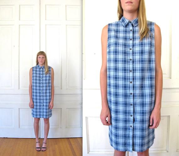 Vtg 90s Sleeveless Plaid Shirt Dress / Oversized Button Down Dress / Blue Plaid Dress