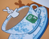 Cute Bunny Bathing In A Cup Of Tea Blank Greeting Card