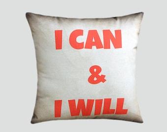 "Decorative Pillow case. My Designer fabric, Beige Cotton Throw pillow case with text, fits 16"" x 16"" insert, Toss pillow case, Cushion case."