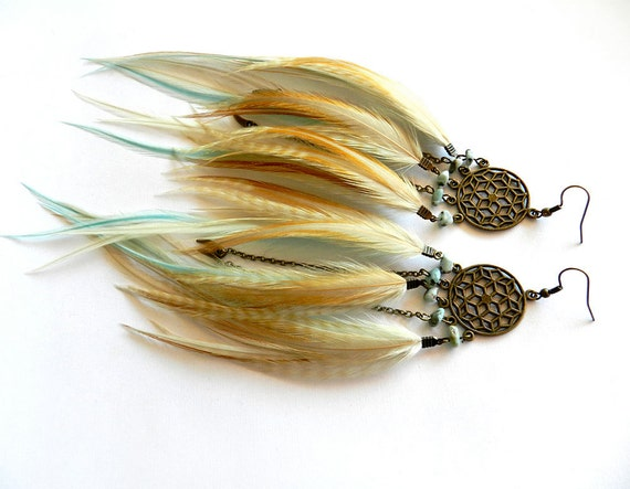 "Dream Catcher Feather Earrings ""Endless Summer"" Turquoise, Aqua, White, Brown, Cream, Grizzly, Natural, Long, Tribal Fall Fashion"