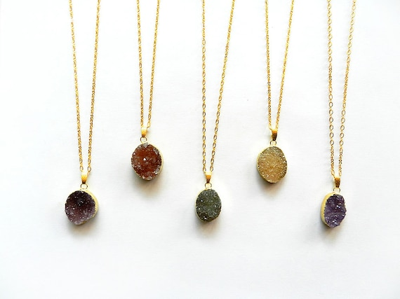 Druzy Necklace - You Choose Stone, Jewel Tone Colors, Raw Crystal Pendant, Gold Chain, Drusy, Autumn Fall Fashion