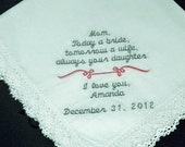 Personalized Wedding Handkerchief for Mother of the Bride