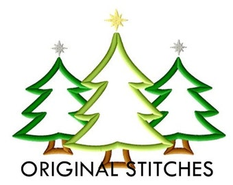 Christmas Tree Trio Applique and Embroidery Digital Design File 4x4 5x7 6x10 7x11