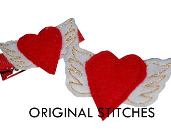 Winged Heart Feltie In The Hoop and Machine Embroidery Digital Design File