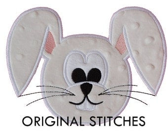 Easter Bunny Head Applique and Machine Embroidery Digital Design File 4x4 5x7 6x10 7x11
