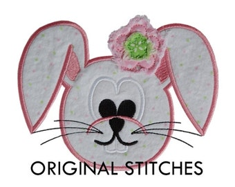 Frayed Flower Easter Bunny Head Applique and Machine Embroidery Digital Design File 4x4 5x7 6x10 7x11