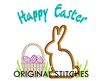 Happy Easter Bunny Silhouette Applique and Machine Embroidery Digital Design File 4x4 5x7 6x10