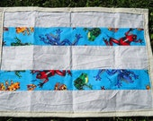 Toddler Frog Blanket, Kids Blue Lap Blanket, Gray and Green Boys Blanket, Lightweight blanket for daycare, travel, hospital visit