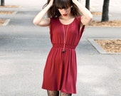 50% OFF Madrid Dress in MEDIUM - Wine Red - Responsibly Canadian Made
