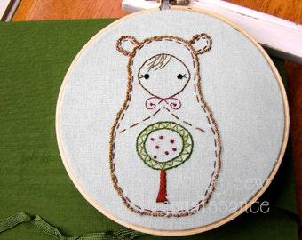 Embroidery PDF Pattern Matryoshka Nesting Doll Woodland Bear Pattern