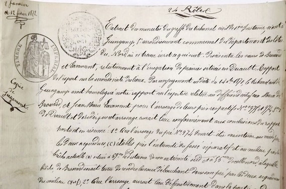 French antique legal document from 1872, hand written manuscript