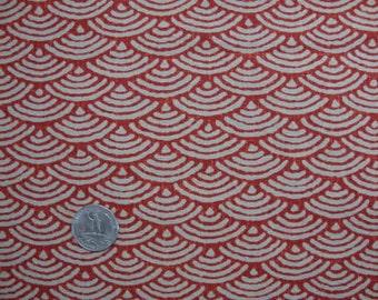 Tissu japonais motif géométrique seigaiha (vague) rouge