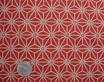 Tissu japonais motif géométrique rouge