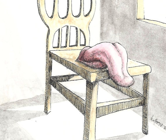 Original ink drawing of a basking chair