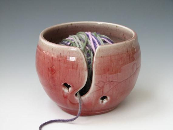 Knitting Yarn Bowl Handmade Yarn Bowl Yarn Ceramic Bowl Vegas Red