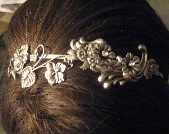 Silver flower headband Victorian headband fancy headband floral wedding headband bridal headband bridal headpiece flower headband woodland