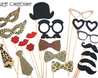 Photo Booth Party Props - The Vintage Collection -  20 piece set - Birthdays, Weddings, Parties - Photobooth Props
