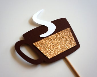 Photo Booth Props - Hot Chocolate, Coffee on a stick - GLITTER Photobooth Props