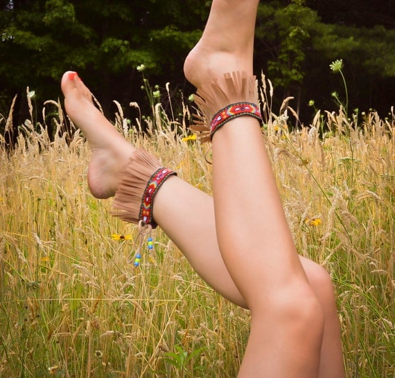 Barefoot Moccasins - Native American Fringe Ankle Cuffs - Tribal Thunderbird Pattern