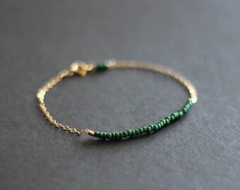 forest green - lucky gold bracelet