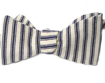Blue & White Ticking Mens Bow Tie
