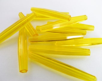 12 Vintage 30x4 Tapered Faceted Clear Golden Yellow Tube Beads Bd268
