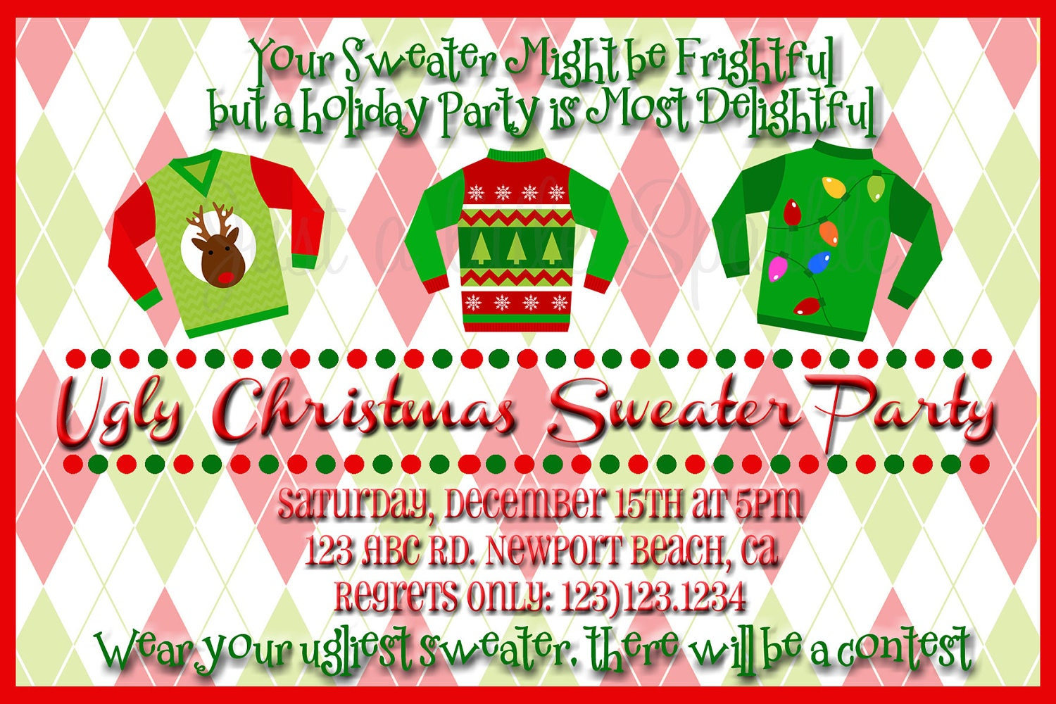Ugly Holiday Sweater Party Invitation Wording Cardigan With Buttons – Ugly Christmas Sweater Party Invites