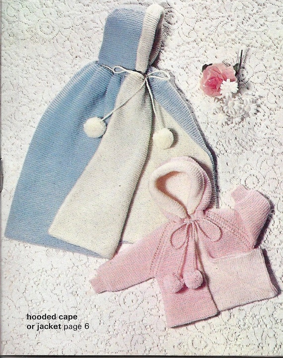 INSTANT DOWNLOAD Vintage Pattern, Baby Knitting Pattern,Hooded Cape and Jacket  pdf pattern
