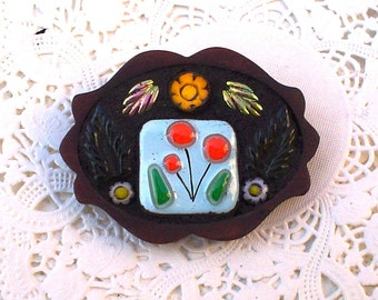 Mosaic Brooch Pin:  Orange Poppies and Yellow Flowers