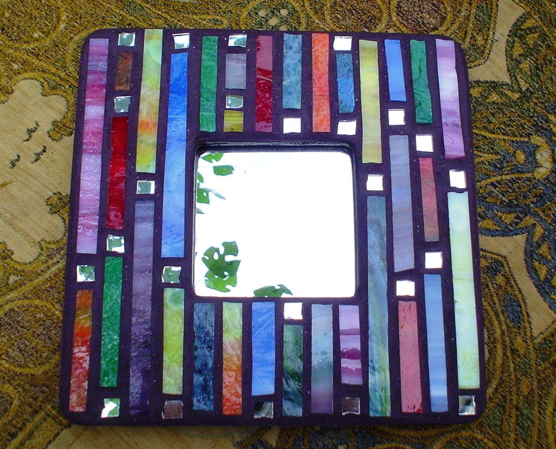 Rainbow stained glass mosaic mirror or picture frame for Mosaic mirror